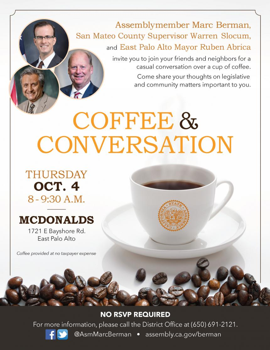 Assemblymember Berman coffee event flyer graphic