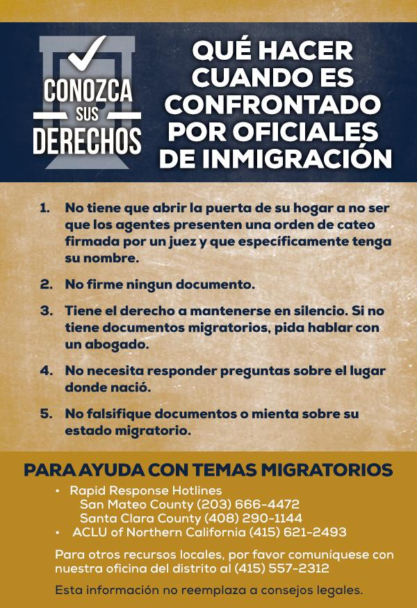 Assemblyman Berman immigration rights cards Spanish
