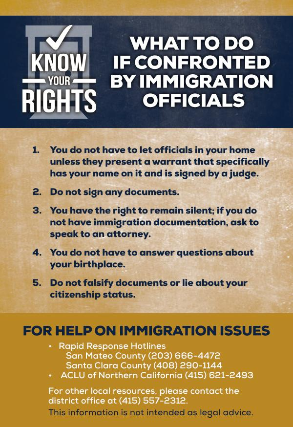 Assemblyman Berman immigration rights cards English
